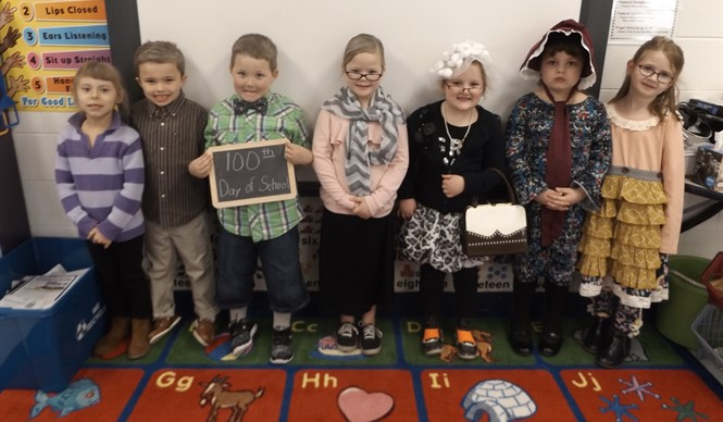Ms. Jackie Frey's kindergarten class at ECC celebrates the 100th day of school!
