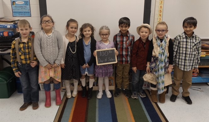 Ms. Tammy Cook's kindergarten class at ECC celebrates the 100th day of school!