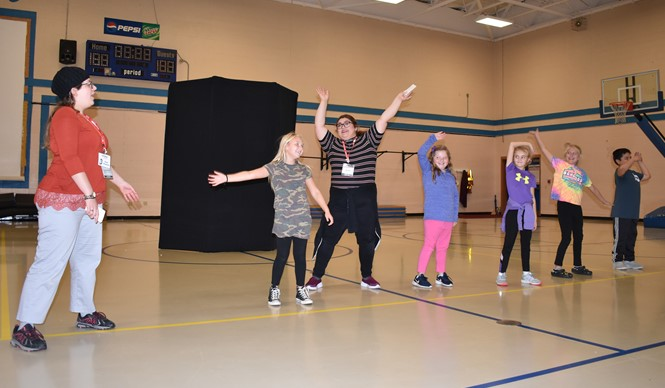"On Thursday, November 7th, the Missoula Children's Theatre tour team conducted a workshop entitled ""The History of Comedy"" at AES."
