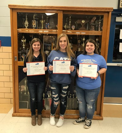 CCHS seniors Makaya Gregory, Emily Shelton, and Jaden Mullins were recognized at the basketball game on Monday, January 13th as recipients of the All A Classic Scholarship.