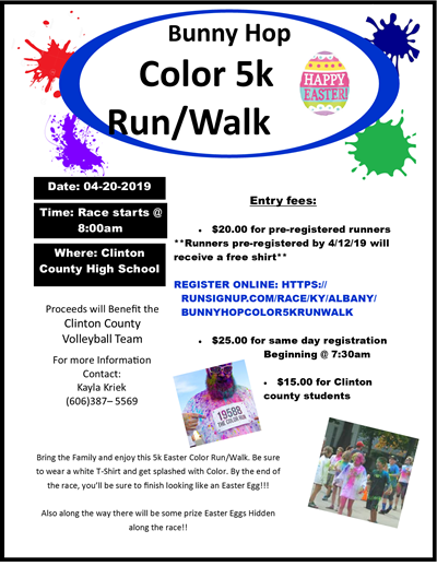 Support the Volleyball Team at the Bunny Hop Color 5K Run / Walk!
