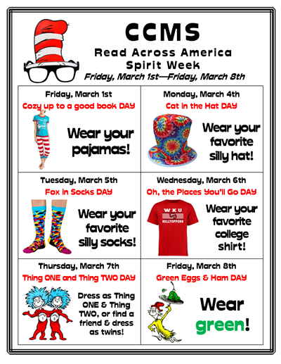 CCMS Read Across America Spirit Week 2019