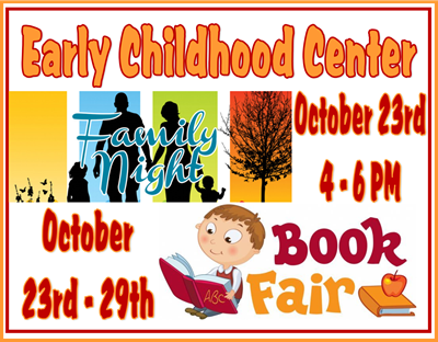 The Clinton County Early Childhood Center Family Night & Book Fair Kickoff will be held in conjuction with the Pumpkin Walk at ECC on Tuesday, October 23rd from 4:00 - 6:00 PM!