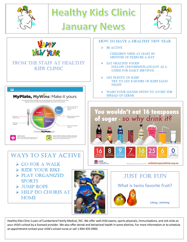 Healthy Kids Clinic January 2020 Newsletter