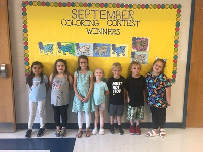 Pictured here are the winners of the September Kindergarten coloring contest at ECC!