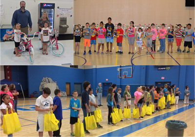 Students who had perfect attendance for the entire school year were awarded prizes on the last day of school.