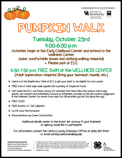 Trick or treat bags, swimming, free food, & books!  Don't miss the Pumpkin Walk!