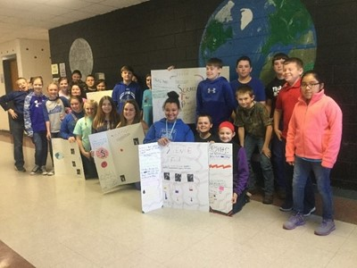 Clinton County Middle School students in Mrs. Rebecca Crabtree's 5th grade science classes participated in an in-class Science Fair.