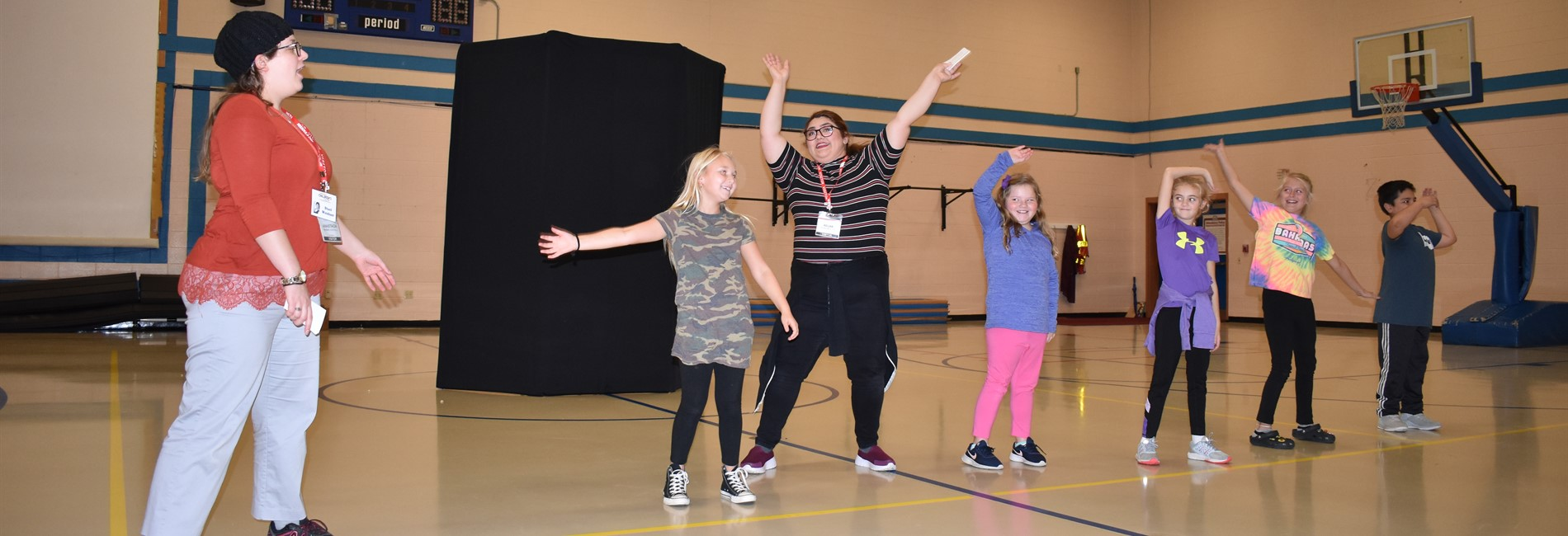 "The Missoula Children's Theatre tour team conducted a workshop entitled ""The History of Comedy"" at AES."