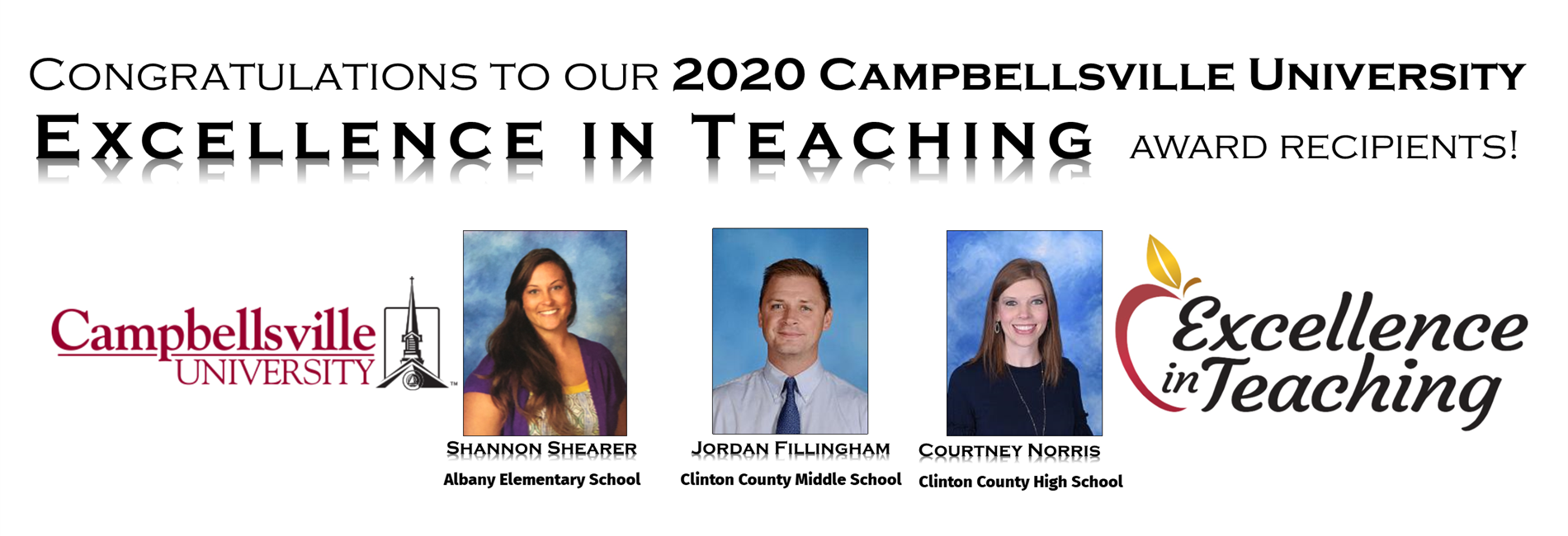Excellence in Teaching Recipients 2020