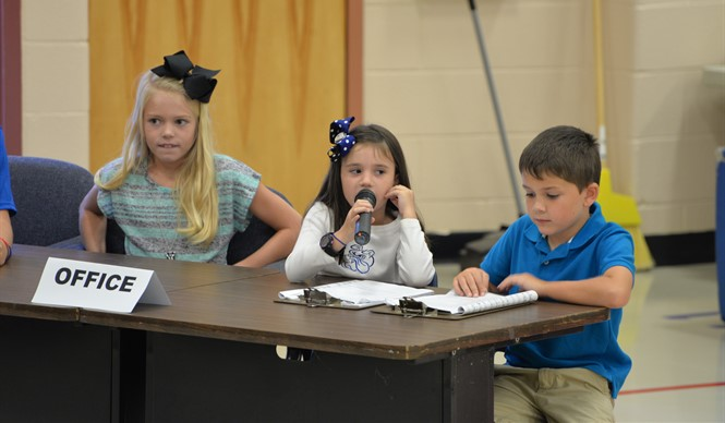 Students perform in the first Related Arts Showcase of the year at AES.
