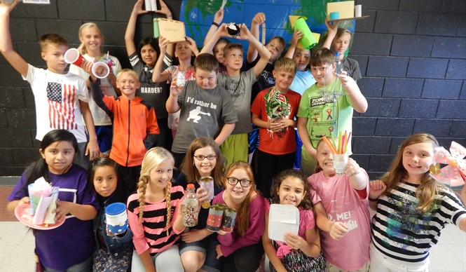 Students show off their Reduce, Reuse, Recycle projects at CCMS.