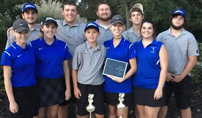 The CCHS Girls and Boys Varsity Golf Teams win the 16th District Tournament.