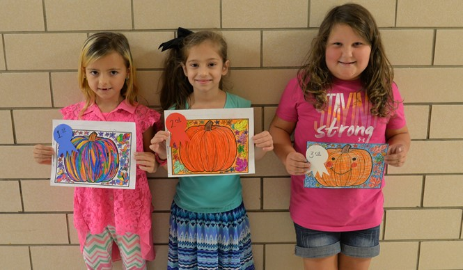 To celebrate fall, students in grades 1 and 2 at AES had a pumpkin coloring contest.