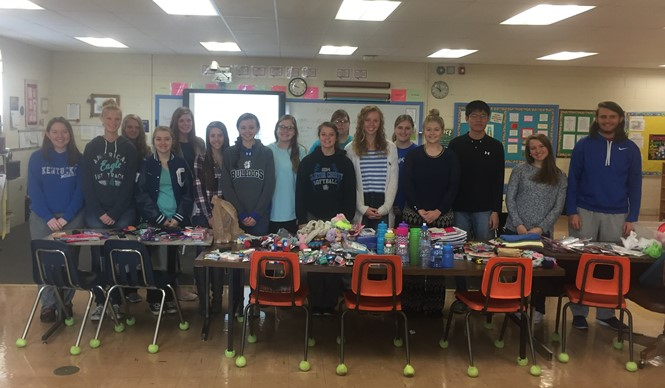 CCATC students pack Operation Christmas Child shoeboxes.