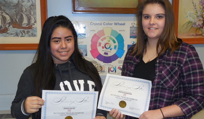 CCHS students Jessica Reyes and Kristen Branham are selected for the VSA Traveling Art Exhibit.
