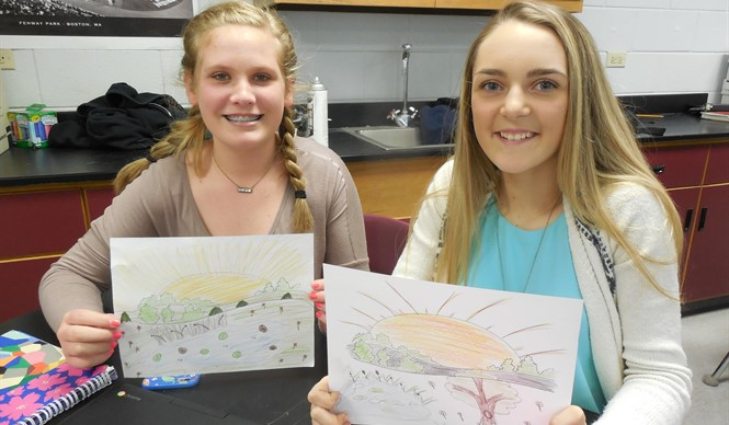 Students complete landscape drawings during Showcasing the Arts program at CCMS.