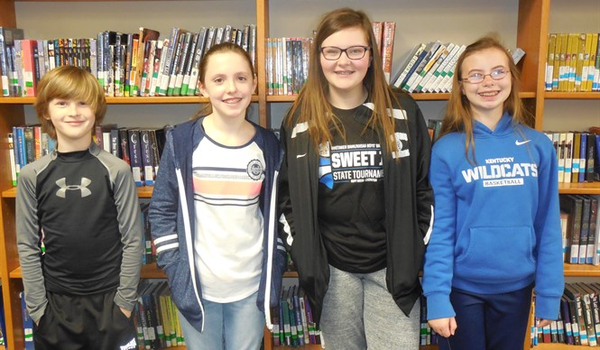 CCMS students Ian Holdiness, Jonna Upchurch, Claire Guffey, and Loren Little won the 5th & 6th grade Battle of the Books competition.