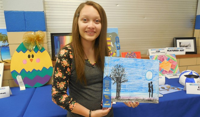 Sidney Alexander won 1st place for her oil pastel landscape painting in the 8th annual Gifted & Talented Art Show.