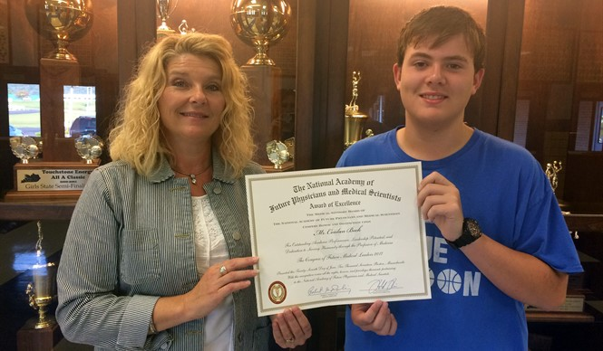 CCHS sophomore Conlan Beck received an Award of Excellence for his participation in the 2017 Congress of Future Medical Leaders.