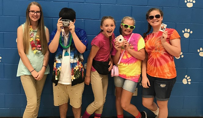 "CCMS students dress up for ""Travel Day"" during Gear Up week."