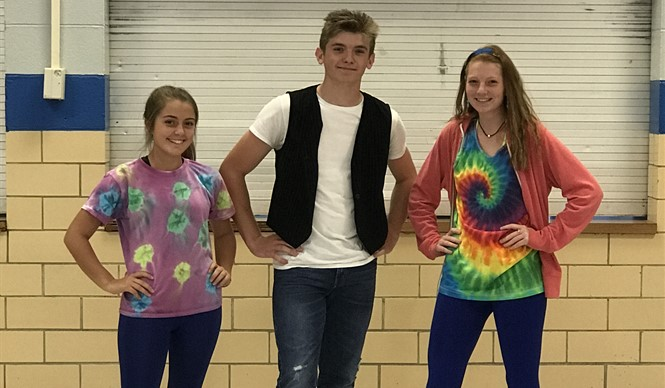 "CCHS students dress up for ""Decade Day"" during Gear Up week."