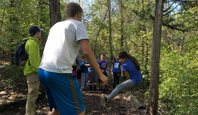 CCMS and CCHS Gifted & Talented students work together at the Asbury University Challenge Course.