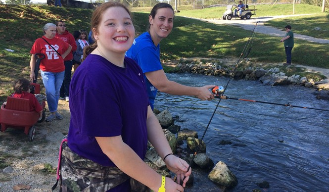Students enjoyed the 10th Annual Reaching for Rainbows Fishing Derby at Wolf Creek National Fish Hatchery.