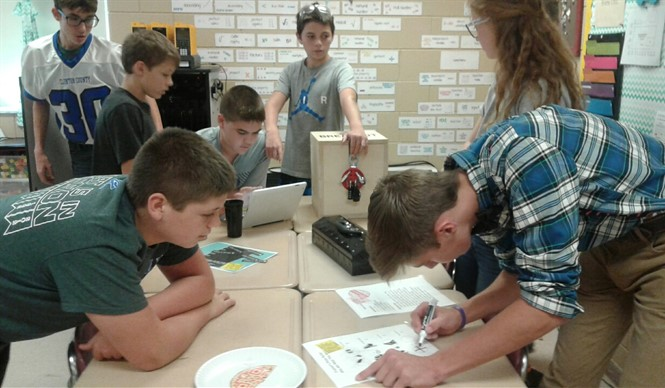 "Students explore in Mrs. Erin Casada's ""flipped"" science classroom at CCMS."