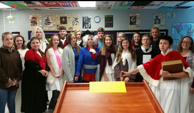 The AP European History class at CCHS participates in an Enlightenment Salon.