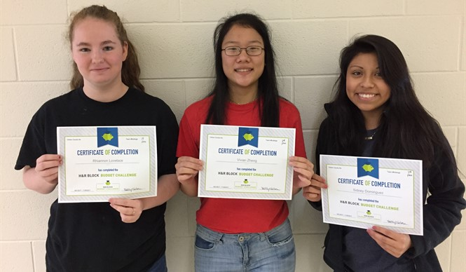 Rhiannon Lovelace, Vivian Zheng, and Sidney Dominguez were the winners of the H & R Block Challenge this semester at CCATC.