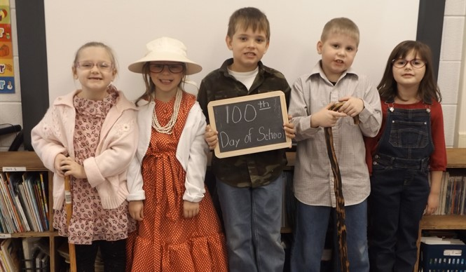 Ms. Patricia Riddle's kindergarten class at ECC celebrates the 100th day of school!