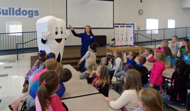 """Mr. Molar"" visited Clinton County Early Childhood Center to talk with the preschool and kindergarten students about healthy teeth."