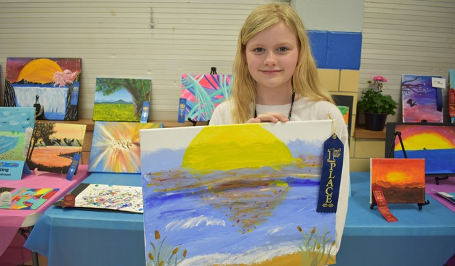 CCMS student Ashton Daniels won 1st Place in watercolors painting at the 9th annual Gifted & Talented Art Show.
