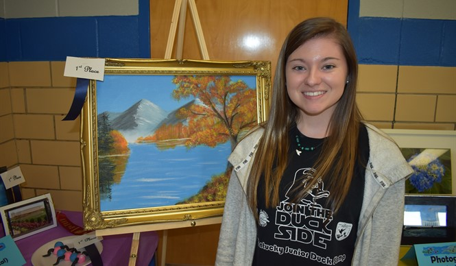 CCHS student Makaya Gregory won 1st Place in acrylic painting at the 9th annual Gifted & Talented Art Show.