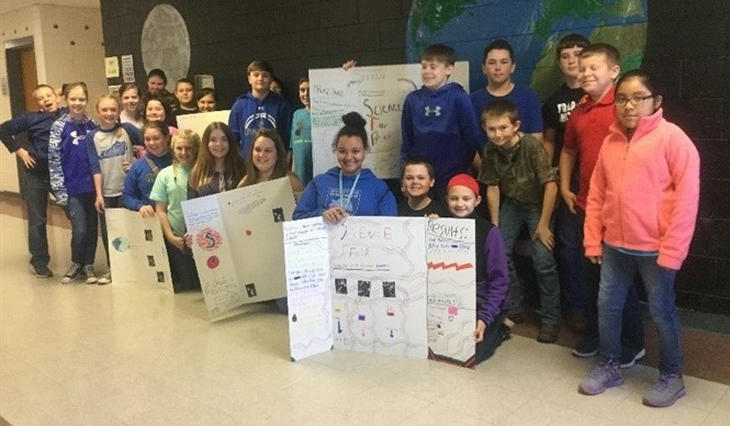 Students in Mrs. Rebecca Crabtree's 5th grade science class show off their Science Fair projects.