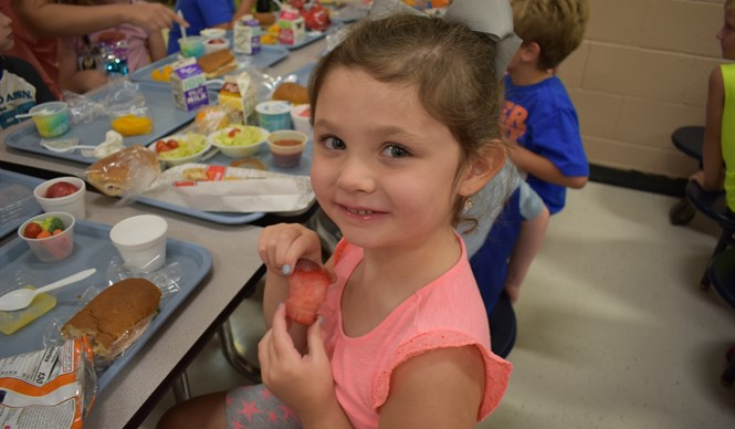 "On the first""Try Day"" of the school year, the featured foods were rainbow kale salad and plums."
