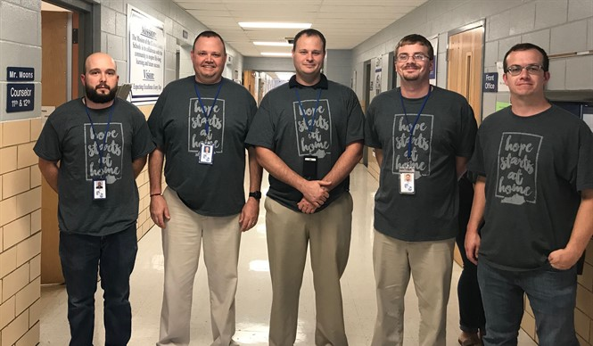 In honor of the Kentucky statewide kick off of the Relay for Life season, school employees all over the district wore their Hope Starts at Home shirts.