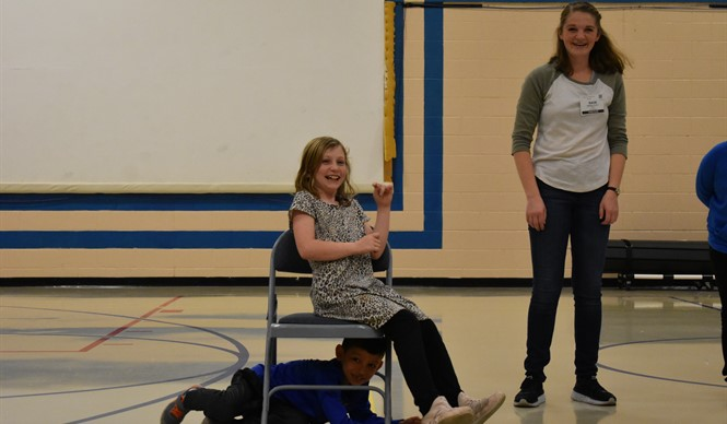 Missoula Children's Theatre Tour Actor and Director conduct a workshop at AES during the MCT residency week.