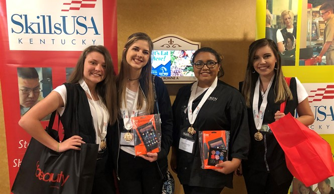 Students from the SCC Cosmetology program at SoKY ECCA competed at the state SkillsUSA competition, bringing home first place in three events!