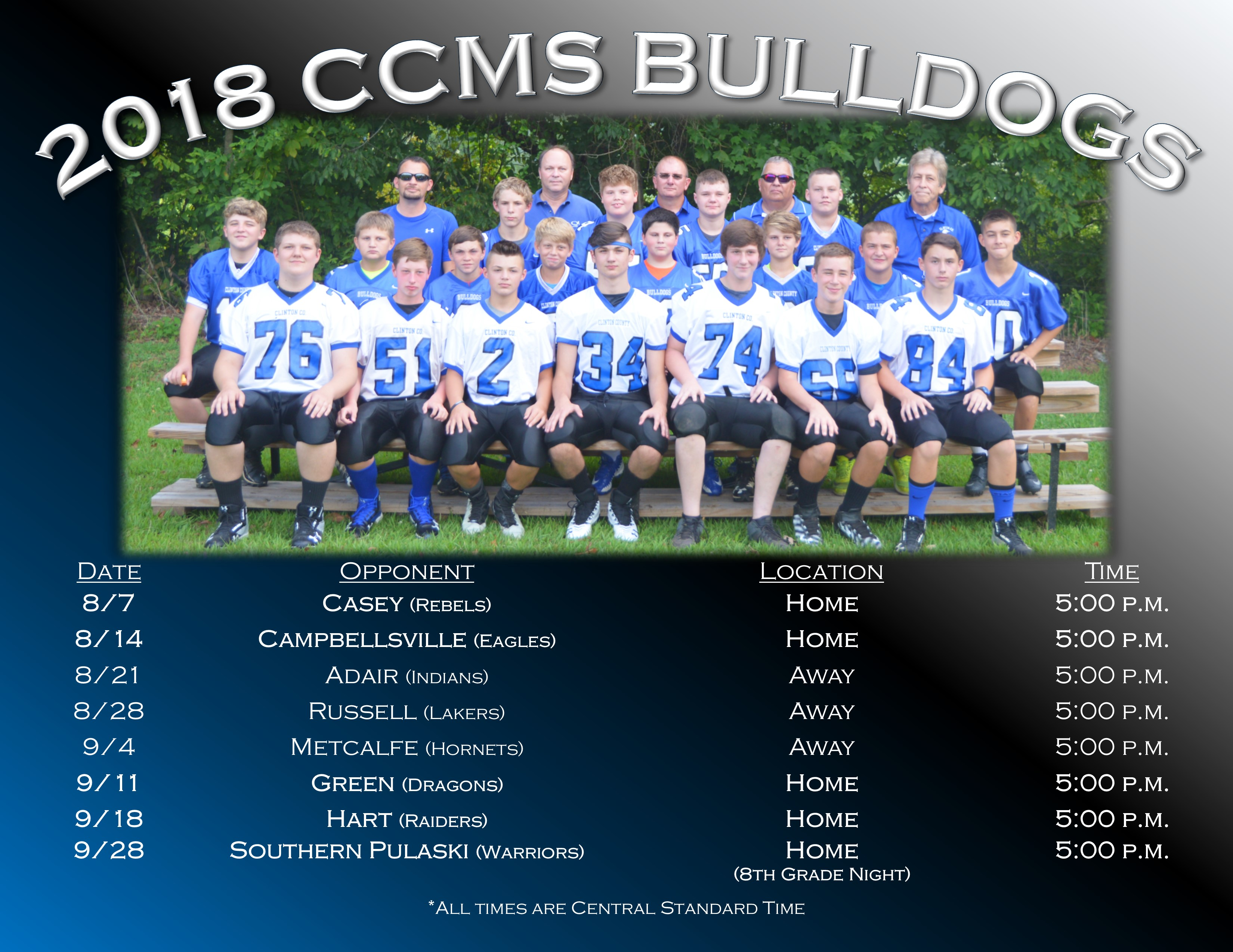 2018 CCMS Football Schedule