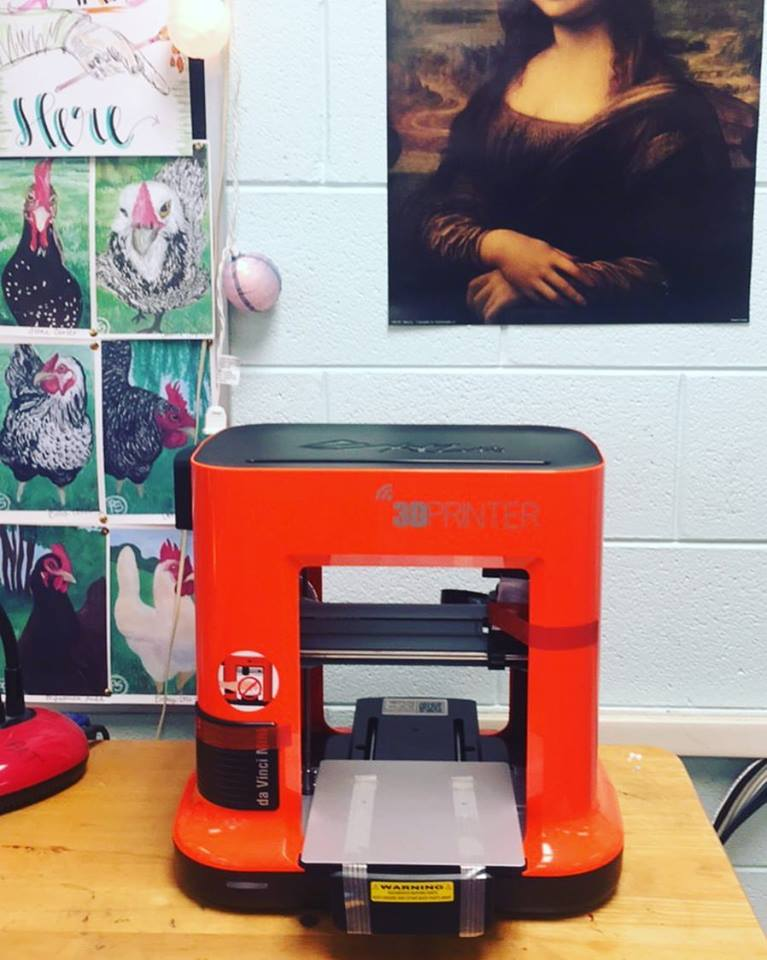 CCMS art teacher Presley Sutton received the CCMS Innovation Grant and now has a new 3D printer.