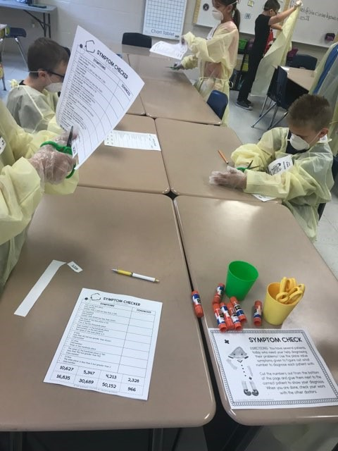 Students in Ms. Brittany Guffey's 3rd grade classes put on their surgeon gear for a review day on place value.