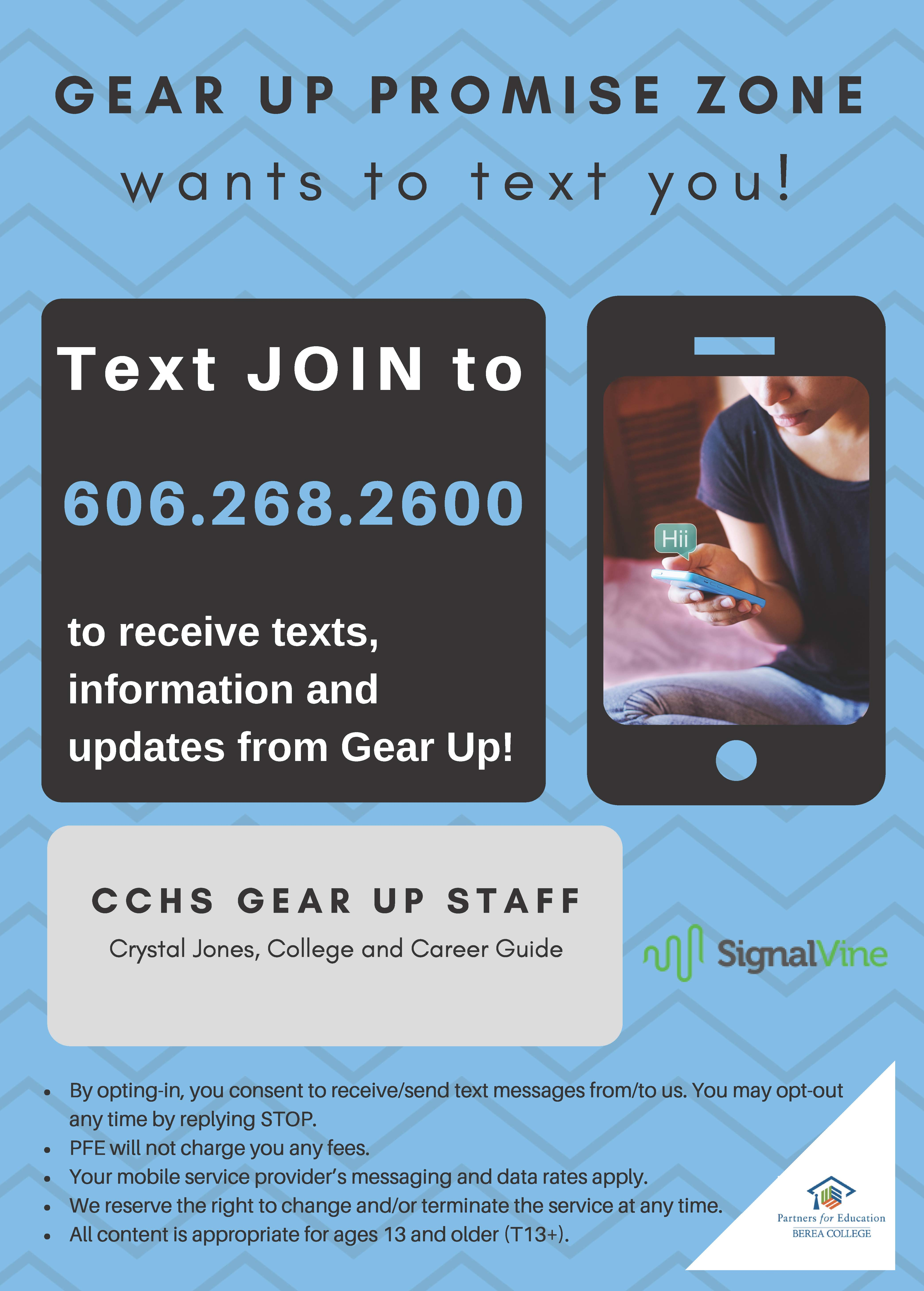 "Text ""join"" to receive GEAR UP notifications!"