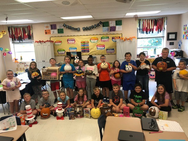 Ms. Mindie Anderson's and Ms. Brittany Guffey's third grade family at AES had lots of fun during their pumpkin character project.