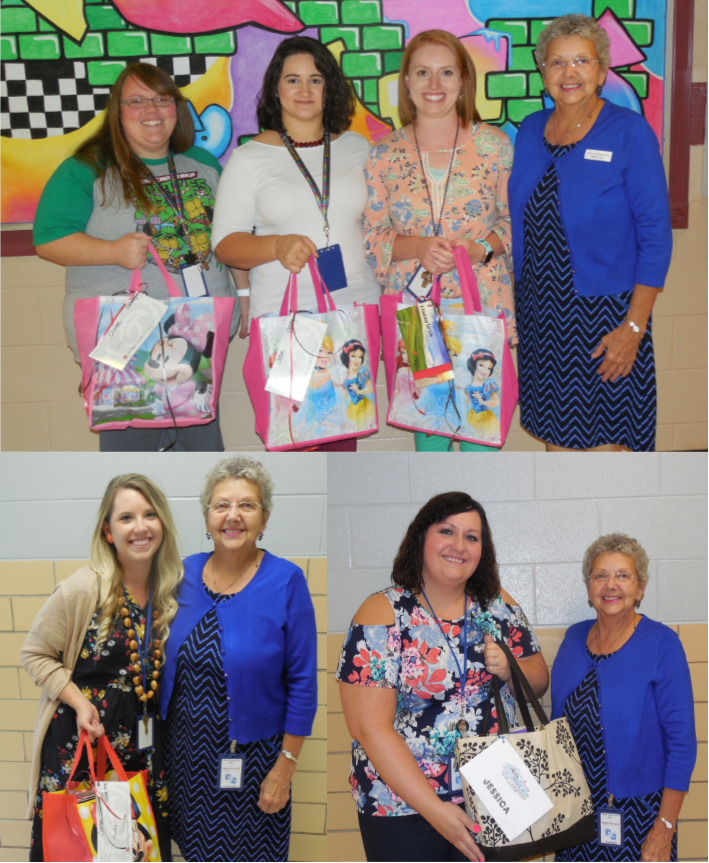 Alfredda Stearns, a representative from the Delta Kappa Gamma Society International (DKG), presented the first year female teachers in Clinton County with tote bags full of school supplies, compliments of the local Iota Chapter of DKG.