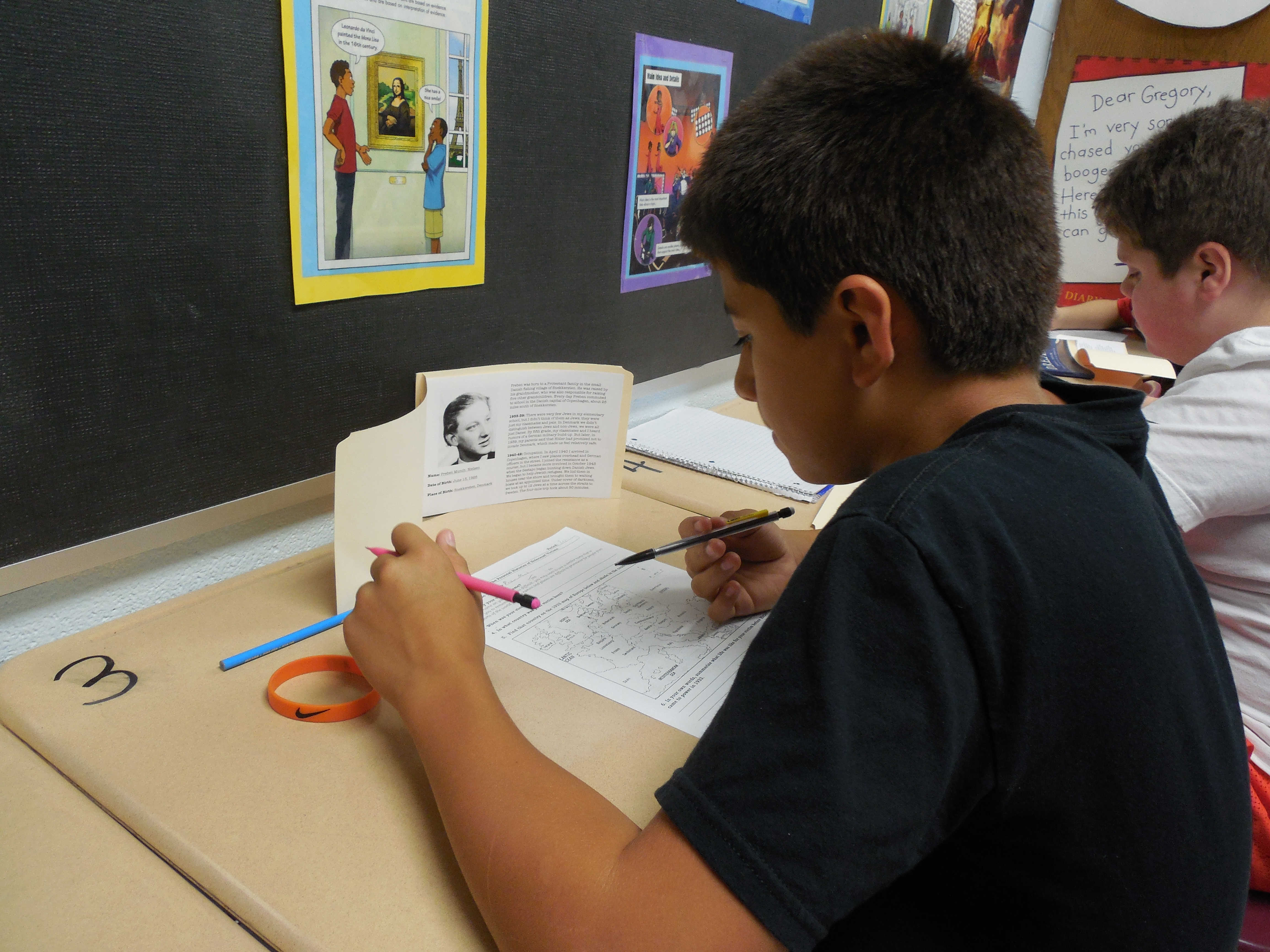 The students in Mrs. Ashley Duvall's 7th grade reading classes at CCMS studied the Holocaust by reading biographies of survivors and victims.