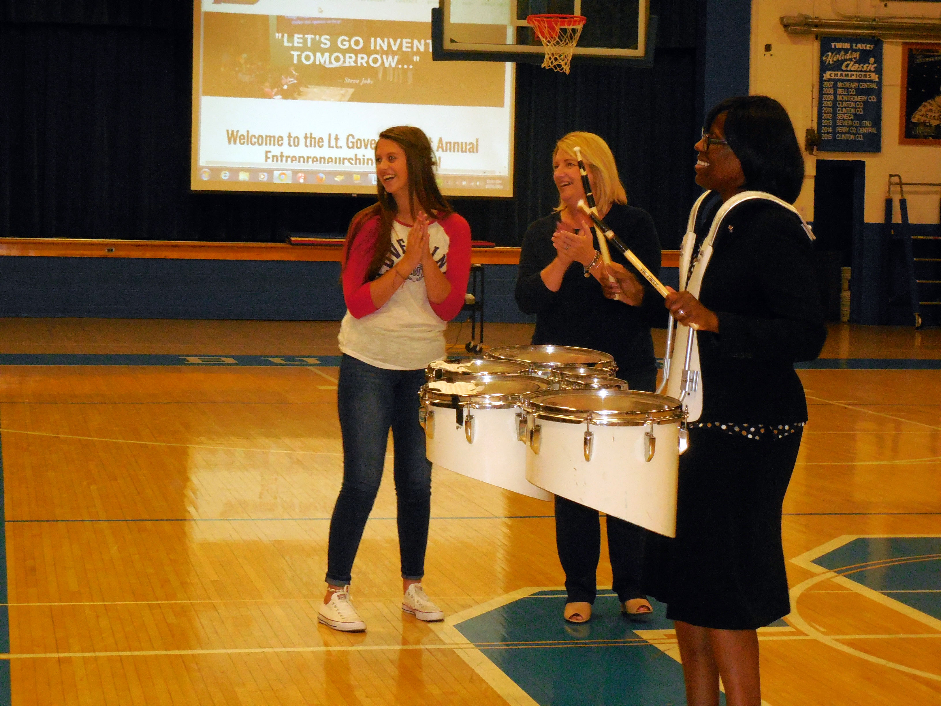 Lt. Governor Jenean Hampton played drums with the Clinton County High School marching band during her visit on October 20th to discuss her new initiative - the Lt. Governor's 1st Annual Entrepreneurship Challenge.