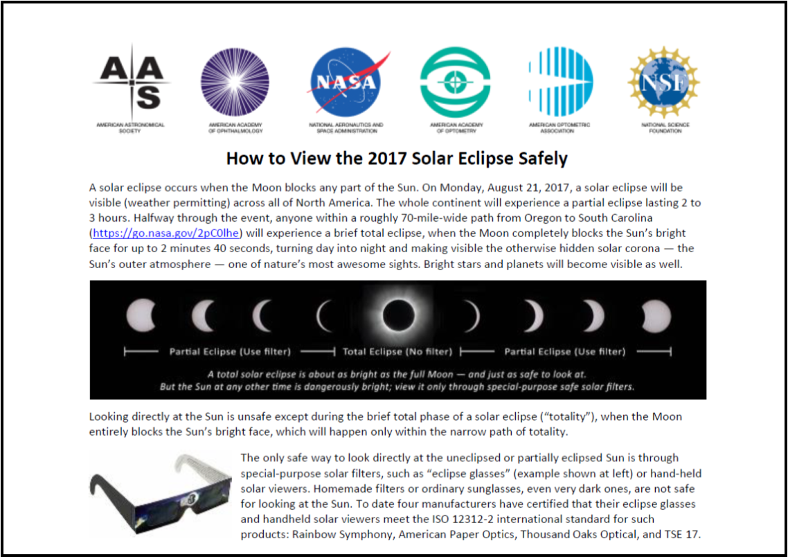 Follow this link for information about how to view the August 21st solar eclipse safely.