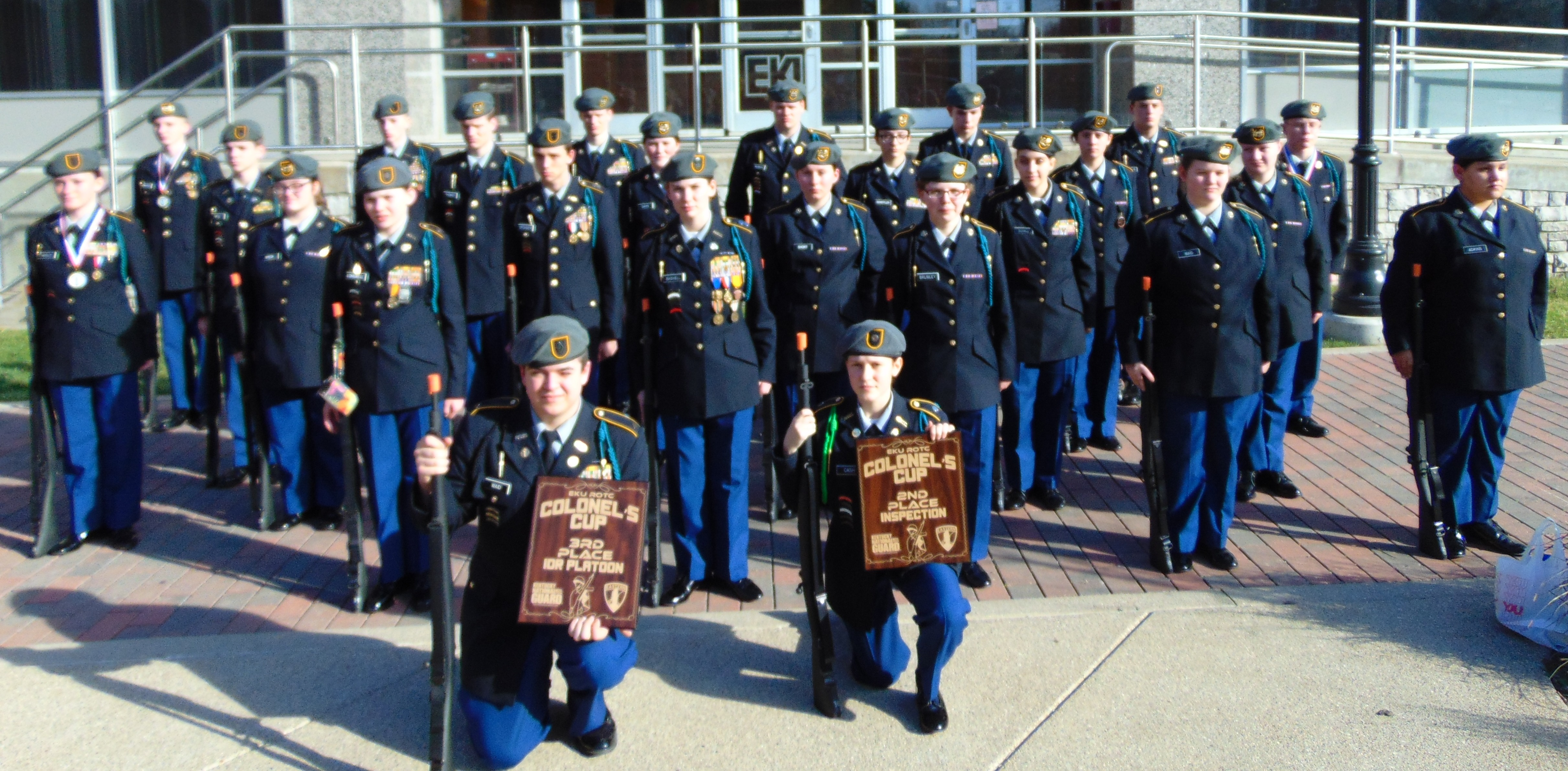 The CCHS JROTC Bulldog Battalion Drill Team won 2nd place in the Armed Platoon Inspection and 3rd place in the Armed Platoon Regulation Drill at the EKU JROTC Classic on March 4th.